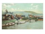 Kai mit Dampfschiffen, Wheeling, West-Virginia Poster
