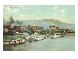 Wharf with Steamboats, Wheeling, West Virginia Poster