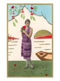 Art Deco Lady with Hearts Posters