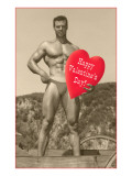 Happy Valentines Day, Muscle Man with Heart Prints