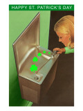 Happy St. Patrick's Day, Shamrocks in Drinking Fountain Posters