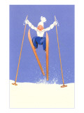Young Child Skiing with Long Poles Art