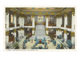 Lobby, Jefferson Hotel, Richmond, Virginia Prints