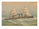 Steamship with Square-Rigged Sails Posters