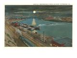 Moon over Monongahela Lock, Pittsburgh, Pennsylvania Prints