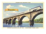 Streamliner Going over Stone Bridge Posters