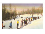 Line of Cross Country Skiers Poster