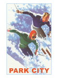Skiers in Powder, Park City, Utah Affiches