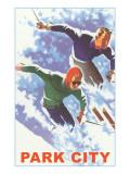 Skiers in Powder, Park City, Utah Kunstdrucke