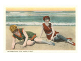 Bathers on the Beach, San Diego, California Prints