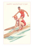 Happy Valentine's Day, Surfing Couple Prints
