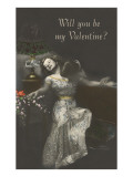 Will You Be My Valentine Couple Kissing under Lamp Poster
