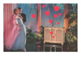 Formal Couple with Record Player, Hearts Prints
