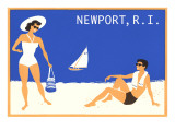 Newport, Rhode Island, Couple on Beach Poster
