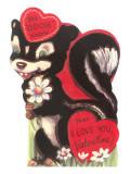 Skunk Valentine Card Posters