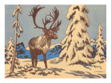 Woodcut of Caribou Prints