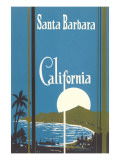 Art Deco Poster, Santa Barbara, California Affiche