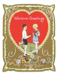 Valentine Greetings, Children with Hearts Prints