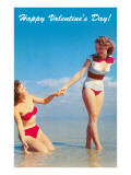 Bathing Beauties on Beach, Happy Valentines Day Posters