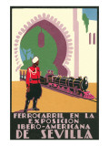 Locomotive in the Seville Exposition Posters