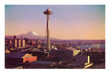 Space Needle, Mt. Rainier, Seattle, Washington Print