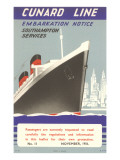 Cunard Line Embarkation Notice Posters