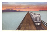 Streamliner Train Crossing Great Salt Lake Poster