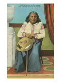Chief Seattle with Basket Giclee-tryk i høj kvalitet