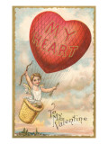 To My Valentine, Heart Balloon and Cupid Prints