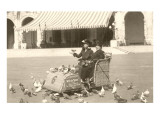 Old Ladies Feeding Pigeons, San Diego, California Photo