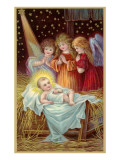 Baby and Angels in Nativity Scene Pósters