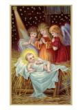 Baby and Angels in Nativity Scene Lámina giclée premium