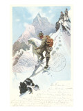 Mountain Climbing in the Alps Prints