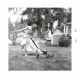 Woman in Dress Starting Lawn Mower Posters