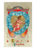 To My Valentine, Cupid in Violet Wreath Prints