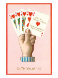 To My Valentine, Poker Hand of Hearts Straight Flush Prints
