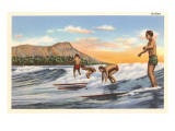 Surfing Off Diamond Head Posters