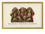 Speak, Hear, See No Evil, Three Monkeys Prints