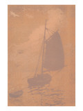 Gaff-Rigged Sailboat in Mist Posters