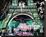 Paris by Night Stretched Canvas Print by  Kaly