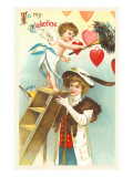 To My Valentine, Lady Holding Ladder for Cupid Posters