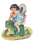 Girl Riding Giant Frog, Valentine Posters