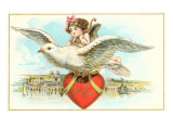 To My Valentine, Cupid Riding Dove Prints