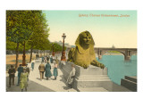 Sphinx, Themse Uferdamm, London, England Poster