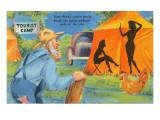 Cartoon, Man Watching Women in Tent Prints