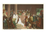 Painting of Baptism of Pocahontas, Jamestown, Virginia Prints