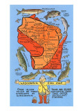 Wisconsin Fish Map Poster