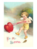 To My Love, Cupid Roping Heart Posters