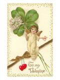 San Valentín, cupido con trébol Lámina giclée premium