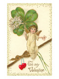 To My Valentine, Cupid with Clover Prints